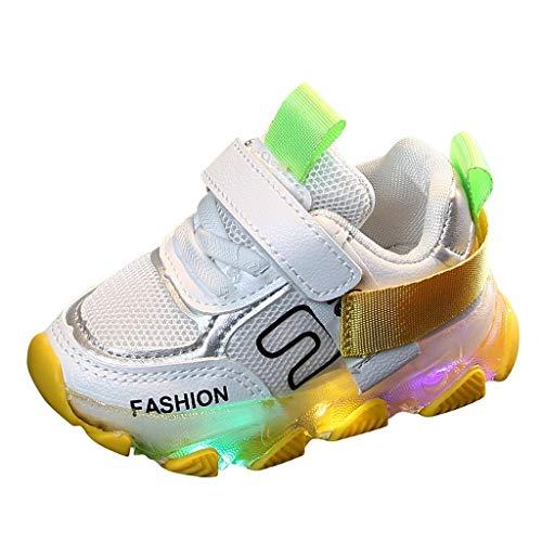 Snowbuff I Bambini E Le Ragazze Lettera Maglia LED Scarpe Leggere Scarpe Sportive Casuali Lacci di Illuminazione Velcro Bambino Sportivo Luminoso Scarpe da Corsa Scarpe Casual per Bambini