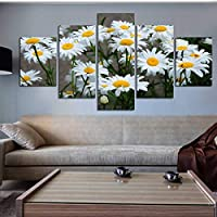 ZTTPCP 100x55cm Canvas Home Decor Painting Modular Pictures HD Printed 5 Panel White Daisy Sunflower Flowers Poster Room Wall Art