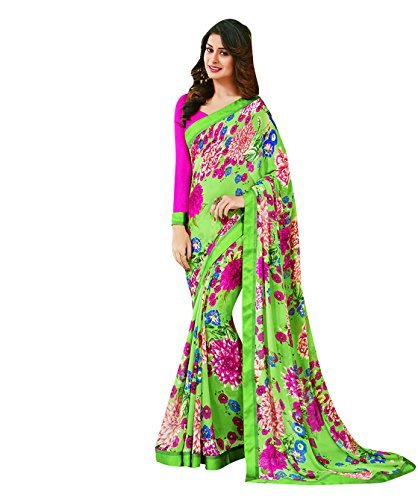 Subhash Sarees Green and Pink Color Georgette Printed (Floral Print) Saree  available at amazon for Rs.1166