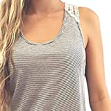 Tank Top VENMO Frauen Sommer Spitze Weste Top Kurzarm Bluse Casual Tank Tops T-Shirt (M, Gray)
