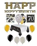 Feste Feiern Geburtstagsdeko Zum 70 Geburtstag I 31 Teile Luftballon Girlande Konfetti Gold Schwarz Silber Party Deko Set Happy Birthday