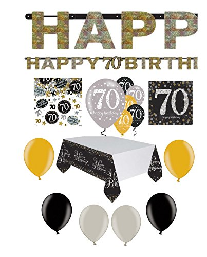 Feste Feiern Geburtstagsdeko Zum 70 Geburtstag I 31 Teile All In One Set Luftballon Wimpel Blüten Konfetti Gold Schwarz Silber Party Deko Happy Birthday (Schwarz Pink, Und Silber Dekorationen Party)