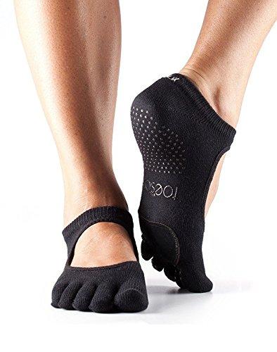 ToeSox Full Toe Plie Yoga-Socken, Unisex Erwachsene M Schwarz - Yoga Griffen Männer Mit Zehen-socken