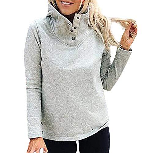 (OSYARD Damen Pullover,Sweatshirt,Oberseiten, Frauen Tunika Hemd Oberteile Oversize Stehkragen Langarm Warme Taste Outwears T-Shirt Tops Bluse Sport Locker Pulli Streetwear Kleidung(XL, Grau))