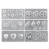 Basage Silikon Nagel Kunst Formen Set, 6 StüCk DIY 3D Nagel Kunst Dekoration Vorlagen Werkzeug