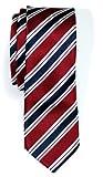 Retreez Herren Schmale Gewebte Krawatte Preppy Gestreifte 5 cm - rot und marineblau