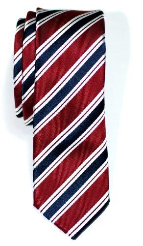 Corbata de microfibra con fina estampado a rayas elegante para hombres de Retreez - Rojo burdeos y azul marino
