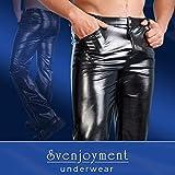 Herren Wetlook Hose aus Kunstleder Svenjoyment Underwear vier Taschen und Gürtelschlaufe Dehnbar Jeanshose (S)mall (M)edium (L)arge XL Schwarz Größe XL