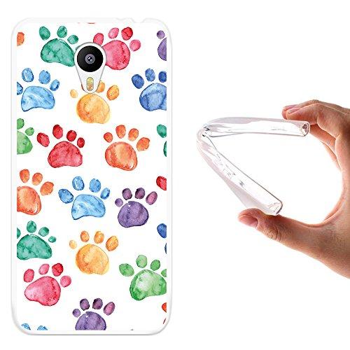 Meizu m2 note Hülle, WoowCase Handyhülle Silikon für [ Meizu m2 note ] Hund Fußabdruck Handytasche Handy Cover Case Schutzhülle Flexible TPU - Transparent
