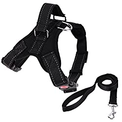 Rrimin Pet Dogs Harness Collar Strap Vest+Traction Rope Lead Leash(Black)(S)