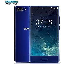 Doogee MIX 13,97 cm (5,5 Zoll) Smartphone (6GB RAM 64GB ROM Android 7.0 4G Helio P25 Octa-Kern 2,5 GHz Metallgehäuse Berührungssensor Front- und Doppel Rückkameras) Blau