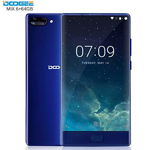 DOOGEE MIX Smartphone Libre, 4G Teléfono Inteligente(Cuerpo de Metal, 5.5 Pulgadas Pantallla HD Pantalla, Android 6.0, 6GB RAM + 64GB ROM, Cámaras Triples, Batería 3380mAh, Dual SIM, Huella Dactilar), Azul width=