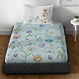 Spaces Essentials 180 TC Cotton Single Bedsheet With Pillow Cover - Multigreen