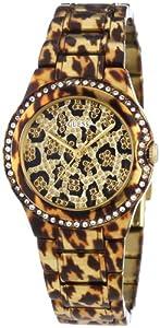 Guess MINI MOONBEAM - Reloj de cuarzo para mujer, con correa de acero inoxidable, color dorado de Guess