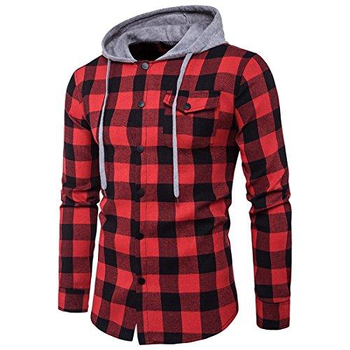 Preisvergleich Produktbild F.Lashes Herren Hemd Kapuzenpullover Langramshirt Herbst Frühling Kapuzenhemd Freizeithemd Slim Fit(EU M (Asien XL), Schwarz Rot)