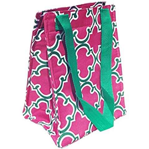 Best Affordable Pink Green Quatrefoil Thermal Lunch Box Purse School Supplies Unique Popular Top High School Birthday Gift Idea Sister Mom by TravelNut® Top Back to School College Supplies by