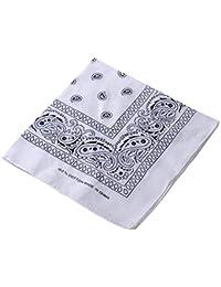 Rubyu - Pañuelo para la cabeza, 100 algodón, 55 x 55 cm, multifunción, gran diseño de cuadros, para hombre, mujer, niño y niña, Blanco
