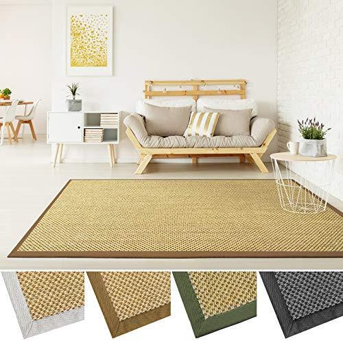 *Sisal Teppich mit Bordüre | Premium Qualität mit Tiger-Eye-Struktur | natürlicher Sisalteppich mit Einfassung aus Baumwolle | verschiedene Größen und Farben (Natur, Bordüre Cappuccino, 160×230 cm)*
