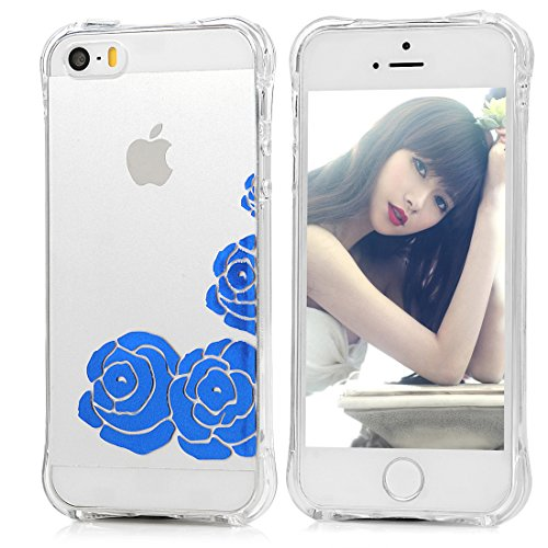 MAXFE.CO TPU Silikon Hülle für iPhone SE / iPhone 5 5S Handyhülle Schale Etui Protective Case Cover Rück mit Blaue Rosen Design Shatter-resistant protection Skin Blaue Rosen