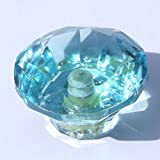 Medium (40mm) Duck Egg Blue cut glass furniture knobs drawer pulls cupboard cabinet handles vintage shabby chic
