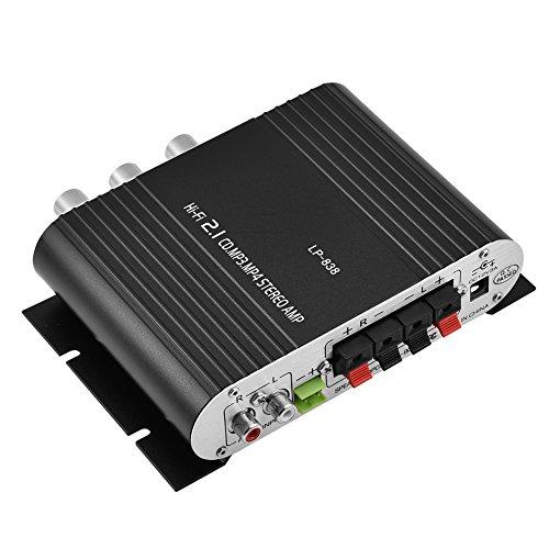 Richer-R Mini HiFi Verstärker, 2.1CH HiFi Stereo Audio Car Amplifier Bass Endstufe Verstärker,MP3/MP4/CD/Radio/DVD/RCA Mini HiFi Musik Hochleistung Verstärker Schwarz/Silberig(Black)