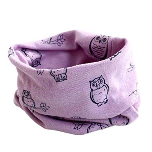 Babybekleidung Schals Longra Herbst-Winter-Baby-Mädchen-Eulen Kragenbaby -Schal Baumwolle O-Ring Halstücher (40 * 40cm) (Purple)