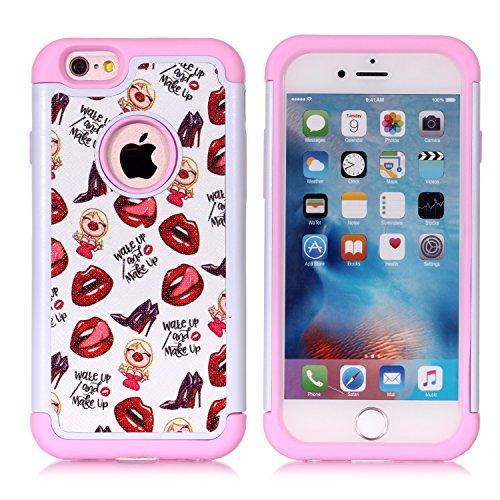 iPhone 6S Schutzhülle, iPhone 6Fall-Fashion Muster Dämpfung Hartschale PC und Innen Silikon Hybrid Dual Layer Rüstung Defender Schutzhülle für Apple iPhone 6iPhone 6S, Rot Kiss (Iphone Fällen Hybrid-rüstung 6)