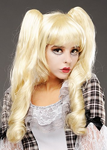 Womens Halloween Gothic Puppe Blonde Dolly Perücke -