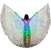 Dance Fairy Danza del Vientre 5 Colors Alas del LED ISIS con Palos/Varillas,Púrpura-Azul-Verde-Amarillo-Rojo