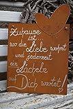 Dekostüberl Tafel mit Herz - Zuhause ist. Edelrost Gedichttafel Schild Spruch Metall