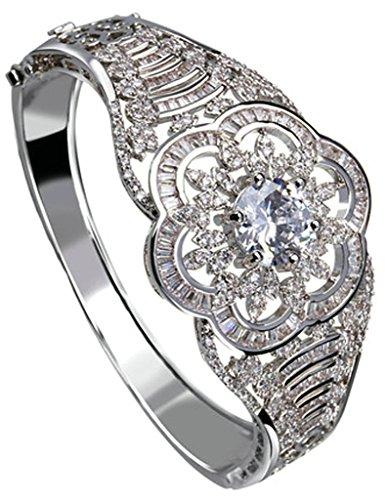 AnaZoz Bijoux Série Haute de Gamme Femme Bracelet Mariage Noble Élégant Incrusté Zircon Cubique Rond Fleur Design Ciselé Noël valentin Blanc