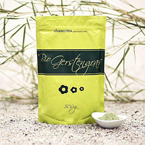 VivaNutria Bio-Gerstengraspulver, Bio-Gerstengras, 500g, aus kontrolliert biologischem Anbau, laborgeprüft, Rohkostqualität!