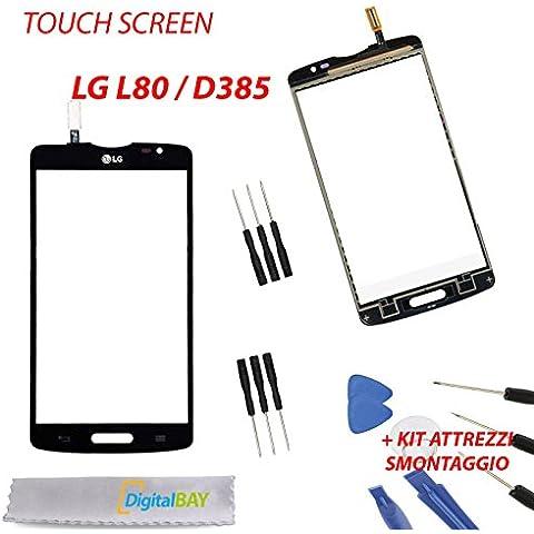 Ricambio Touch Screen Vetro Glass Display Schermo Vetrino NERO per LG L80 / D385 + kit attrezzi smontaggio