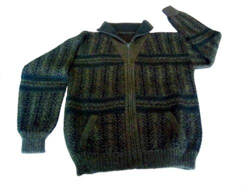 Peruanische Alpaka-pullover (Alpacaandmore Schwarzer Rollkragen Herren Pullover Sweater Peruanische dick gestrickte Alpakawolle (M))