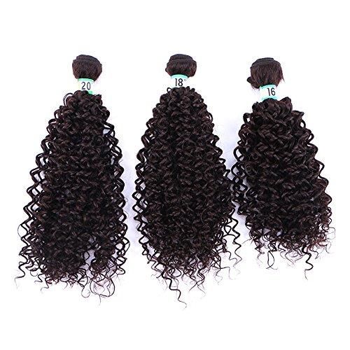 3 Pcs lot 70g / Pc Marron Kinky Eau Bouclés Cheveux Synthétiques Extensions de Cheveux Humains Naturel Noir Couleur Haute température fiber Synthétique Bouclés Weave (3 Pcs 20\