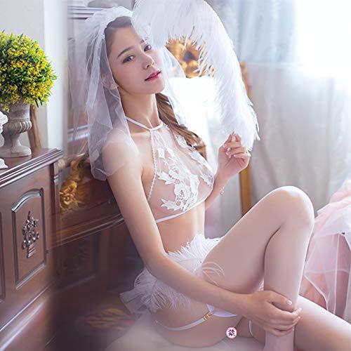 WXNLEAI Reine Braut sexy innere Kleidung kleine Brust Prinzessin sexy Uniform Drei-Punkt-Passion...