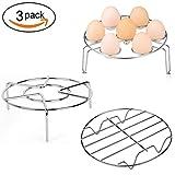 Aupolo Paniers cuit vapeur, Stainless Steel Panier Vapeur Rack Stand Egg Rack Grille à Vapeur Cuisine à la vapeur Porte-aliments pour la Cuisinière à Pression Micro Onde, ensemble de 3