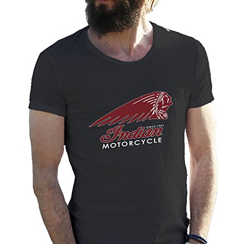 Indian Motorcycle American Bikers Logo Schwarz Herren T-Shirt XX Large (T-shirt Indian Motorcycle)