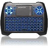 ANEWKODI Mini Clavier Rétro-éclairé Sans fil, 2.4GHz Mini Clavier de Souris Combo, Mini Clavier Wireless Télécommande, pour Téléviseur intelligent, HTPC, IPTV, Téléviseur Android, XBOX360, PS3, PC, etc.