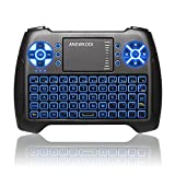 ANEWKODI Mini Tastiera Wireless Retroilluminato Touchpad Mouse Combo, 2,4GHz Mini Keyboard Telecomando per Smart TV, HTPC, IPTV, Android TV Box, XBOX360, PS3, PC, etc immagine
