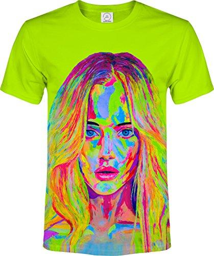 (Grün Modell Holywood 70's Teenager Jugend Lockiges Haar Fluoreszierender Blacklight Neon T-Shirt)