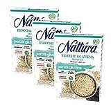 Nattura Fiocchi di Avena Integrali Senza Glutine Ricchi di Fibre Con Betaglucani Fonte di Proteine Vegan OK - 3 x 350 Gram