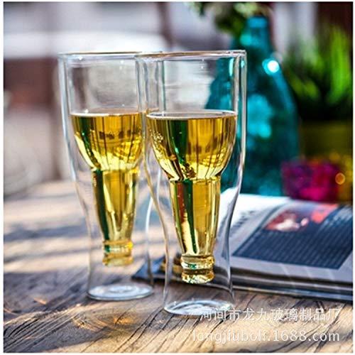 Hunpta Bierglas,Doppelwandiges Bierglas Hopside Longneck Upside Down Gift Inverted Drinking 0,33l im 2er-Set (Doppelwandige Trinkgläser) 400 ml Doppelwandiges Isolierglas, in Geschenkverpackung (Weiß) (Upside-down-bier)