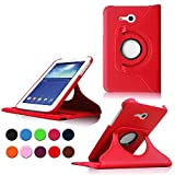 TGK Leather 360 Degree Rotating Case For Samsung Galaxy Tab 3 7.0 Inch Neo Lite Tab 3V,T116 T113,T110,T111 (Red)