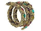 Alilang goldenen Ton Multi Strass Bunte ägyptische Schlange-Stulpe-Verpackungs-Armband