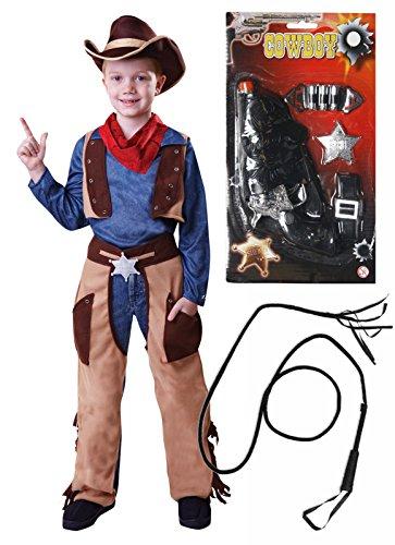 Cowboy-Kostüm für Jungen, mit Pistole und Peitsche, Alter 4-9