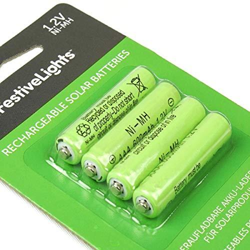 wiederaufladbare Akku-Batterien für Solarprodukte - 600mAh - von Festive Lights (4er Pack AAA 600mAh 1,2V) (Pack Batterie Akku)