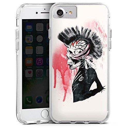Apple iPhone 7 Bumper Hülle Bumper Case Glitzer Hülle Punk Totenkopf Skull Bumper Case transparent