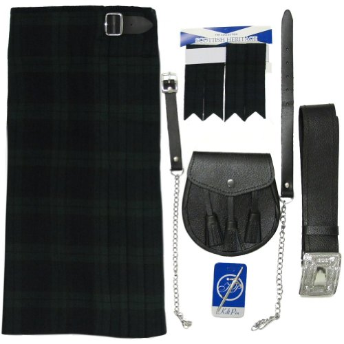 Tartanista Fünfteiliges Kilt-Set Black Watch mit Sporran, Nadel, Strumpfband - UK42 (107cm)