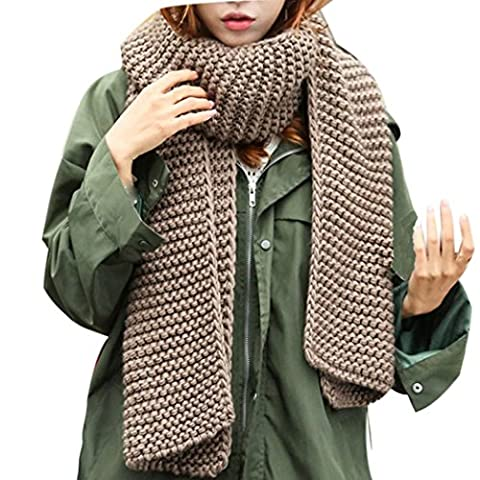 Covermason Women Concise Design Wave Pattern Scarf Long Section Shawl Scarves (Coffee)